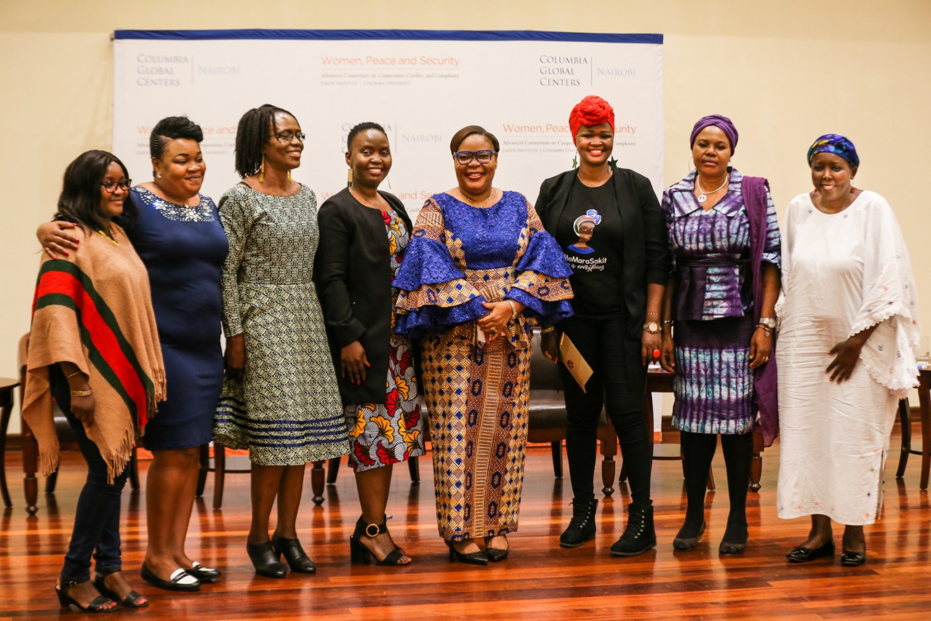 Leymah Gbowee, ED of the WPS Program, with Fellowship participants at the Columbia Global Center in Nairobi.