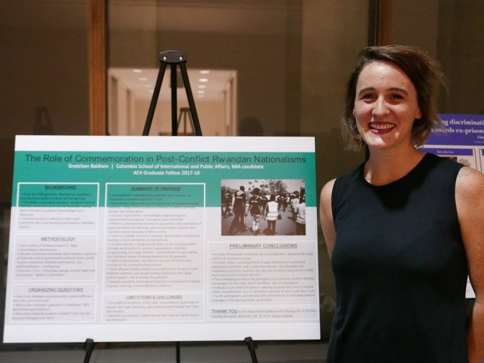 Gretchen Baldwin, an AC4 Graduate Fellow, presenting her research poster at the Sustaining Peace Forum
