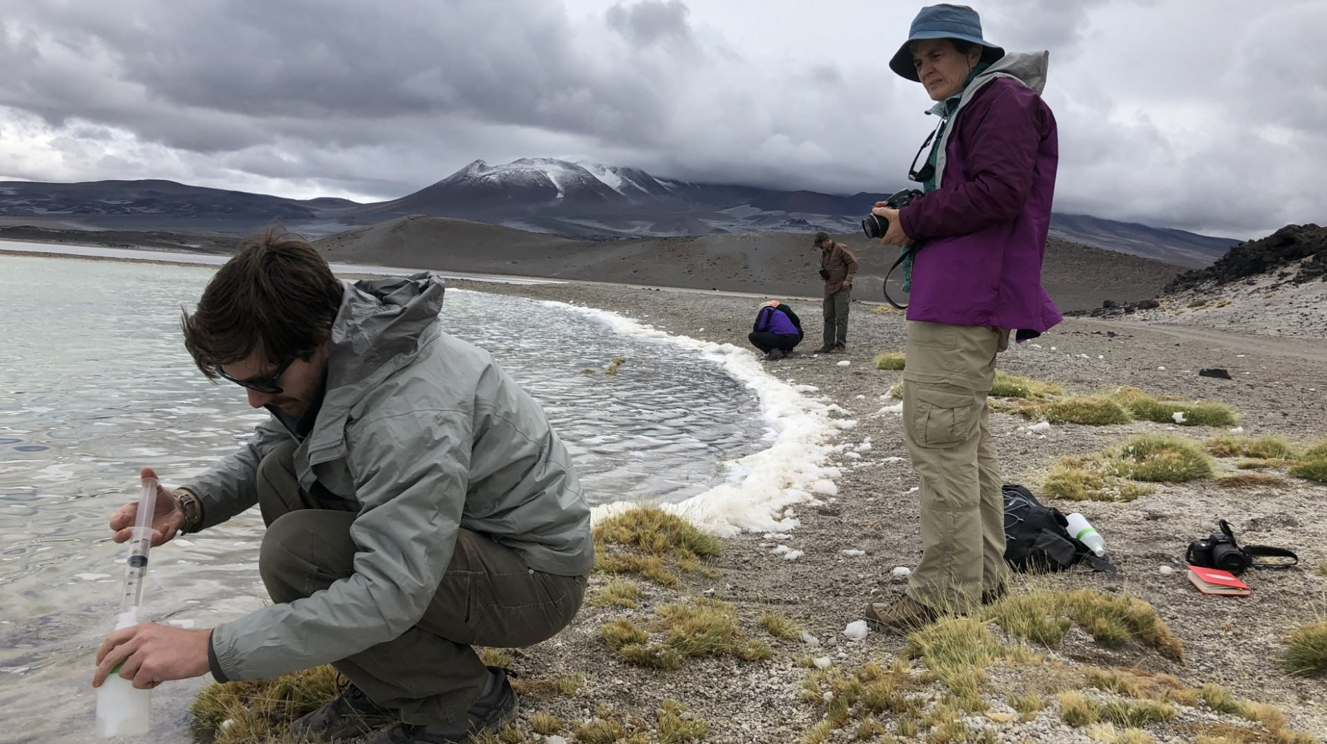 EPS researchers taking water samples in Argentina