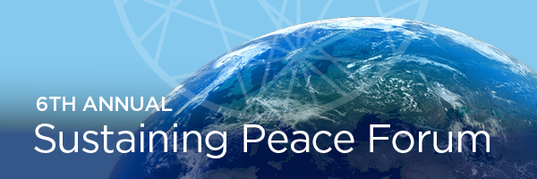 Banner for the 2018 Sustaining Peace Forum with the AC4 Logo over a globe