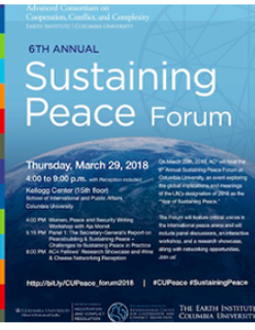 Flyer for the 2018 Sustaining Peace Forum