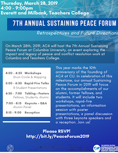 Flyer for the 2019 Sustaining Peace Forum